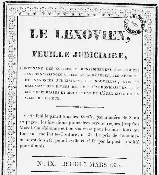 Photo (Calvados. Archives départementales) de : Le Lexovien. Lisieux, 1831-1944. ISSN 2131-2427.