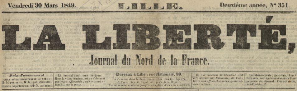Photo (Médiathèque municipale Jean-Lévy (Lille)) de : La Liberté. Lille, 1848-1854. ISSN 2131-3008.