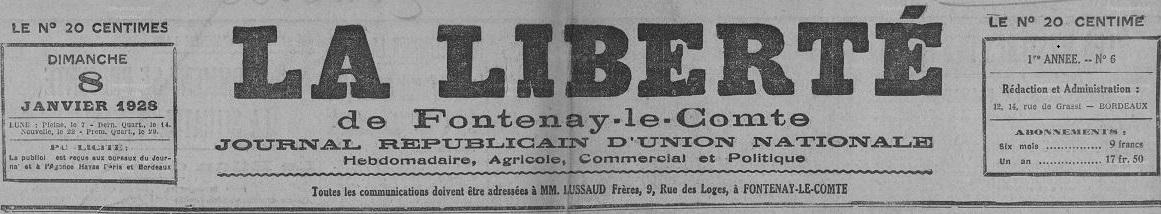 Photo (Vendée. Archives départementales) de : La Liberté de Fontenay-le-Comte. Fontenay-le-Comte, 1927-1940. ISSN 2131-3091.