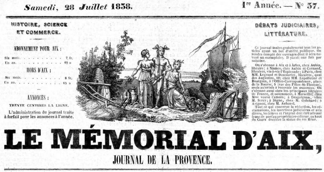 Photo (Bibliothèque Méjanes (Aix-en-Provence, Bouches-du-Rhône)) de : Le Mémorial d'Aix. Aix-en-Provence: Aubin, 1837-1944. ISSN 2017-5299.