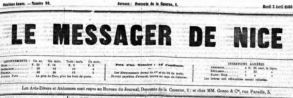 Photo (Alpes-Maritimes. Archives départementales) de : Le Messager de Nice. Nice, 1860-1863. ISSN 2021-1147.