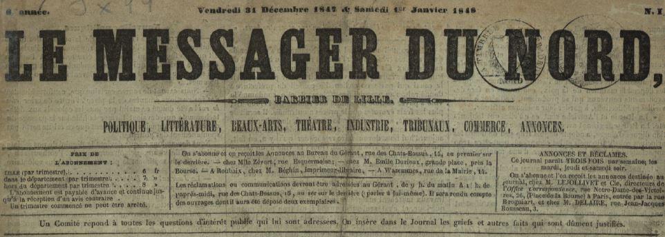 Photo (Médiathèque municipale Jean-Lévy (Lille)) de : Le Messager du Nord. Lille, 1846-1851. ISSN 1162-5376.