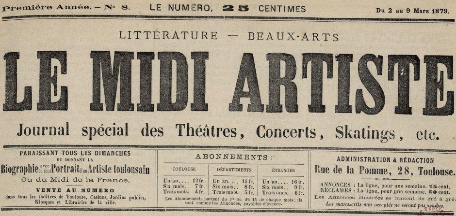 Photo (Bibliothèque de Toulouse) de : Le Midi artiste. Toulouse, 1879-[1887 ?]. ISSN 2132-2104.