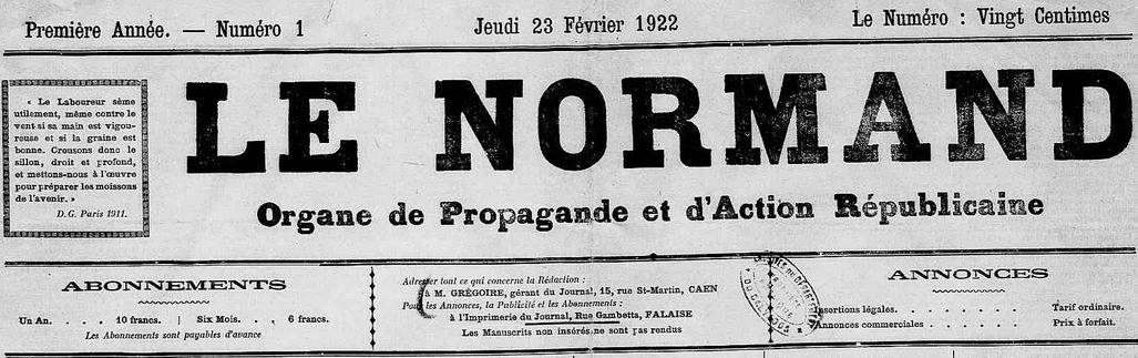 Photo (Calvados. Archives départementales) de : Le Normand. Caen, Falaise, 1922-[1943 ?]. ISSN 2132-9346.