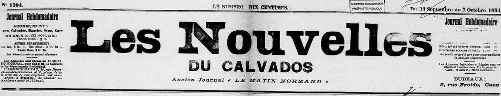 Photo (Calvados. Archives départementales) de : Les Nouvelles du Calvados. Caen, 1894-1895. ISSN 2133-0913.
