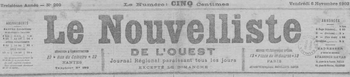 Photo (Loire-Atlantique. Archives départementales) de : Le Nouvelliste de l'Ouest. Nantes, 1891-1908. ISSN 2133-1618.