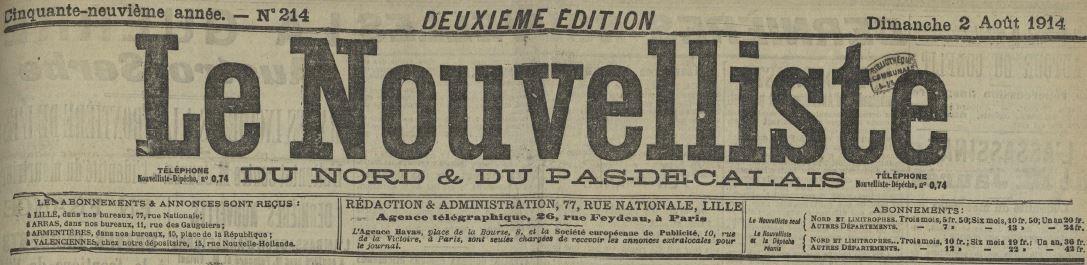Photo (Médiathèque municipale Jean-Lévy (Lille)) de : Le Nouvelliste du Nord et du Pas-de-Calais. Lille, Arras, 1883-[1934 ?]. ISSN 2133-2053.
