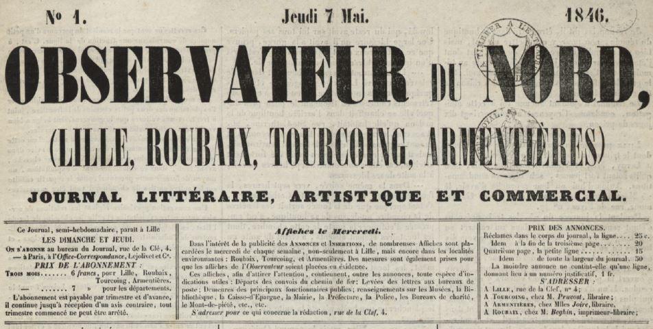 Photo (Médiathèque municipale Jean-Lévy (Lille)) de : Observateur du Nord. Lille, 1846-1847. ISSN 2133-2517.