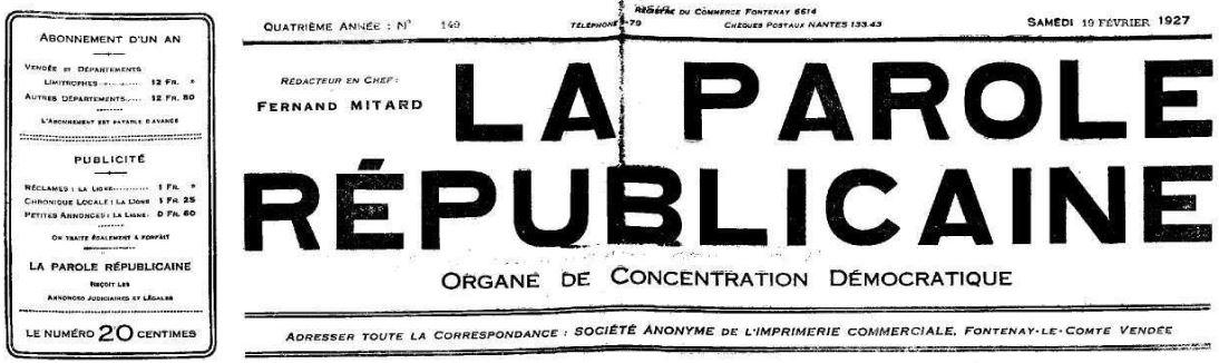 Photo (Vendée. Archives départementales) de : La Parole républicaine. Fontenay-le-Comte, 1924-1946. ISSN 2133-5818.
