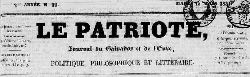Photo (Calvados. Archives départementales) de : Le Patriote. Lisieux, 1831-1851. ISSN 2133-6474.