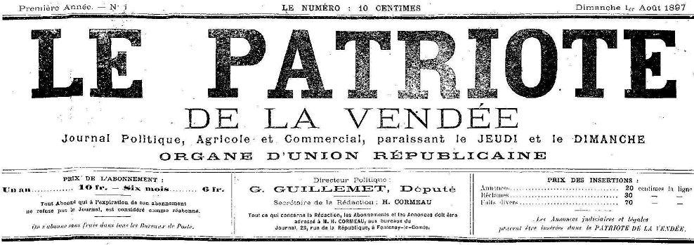 Photo (Vendée. Archives départementales) de : Le Patriote de la Vendée. Fontenay-le-Comte, 1897-1915. ISSN 2133-7071.