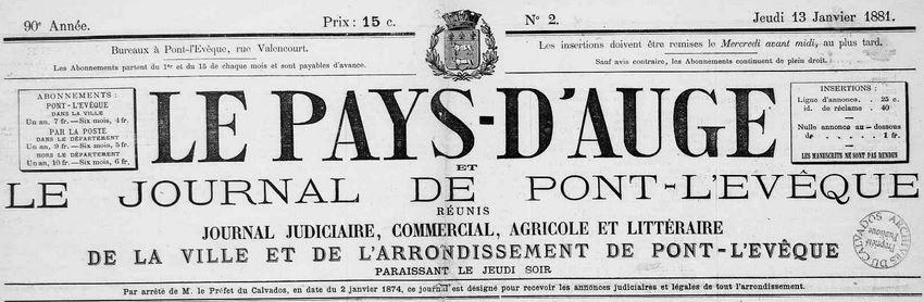 Photo (Calvados. Archives départementales) de : Le Pays d'Auge et le Journal de Pont-l'Évêque réunis. Pont-l'Évêque, 1881-1944. ISSN 2024-8342.