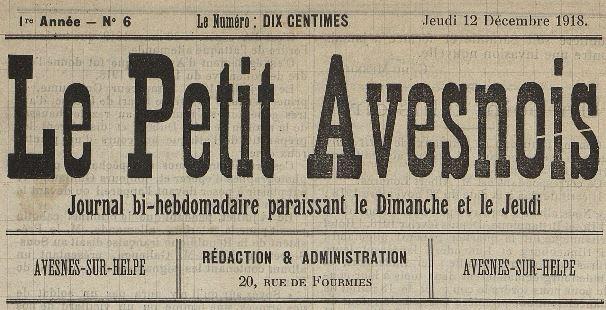 Photo (Médiathèque municipale Jean-Lévy (Lille)) de : Le Petit Avesnois. Avesnes-sur-Helpe, 1918-1919. ISSN 2133-9414.