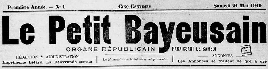 Photo (Calvados. Archives départementales) de : Le Petit Bayeusain. La Délivrande, 1910-[1911 ?]. ISSN 2133-9570.