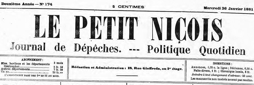 Photo (Alpes-Maritimes. Archives départementales) de : Le Petit Niçois. Nice, 1880-1944. ISSN 1769-5414.