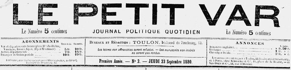 Photo (Var. Archives départementales) de : Le Petit Var. Toulon, 1880-1944. ISSN 2017-8360.