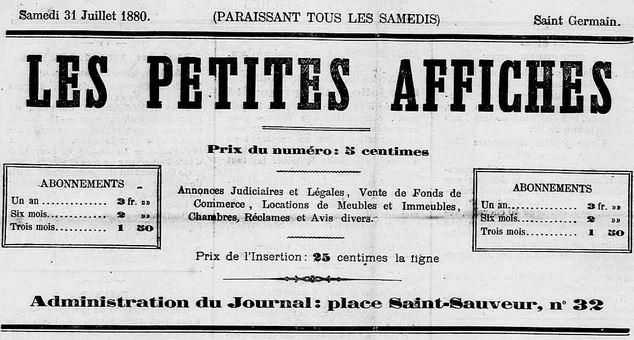Photo (Calvados. Archives départementales) de : Les Petites affiches. Caen, [1880 ?-1882 ?]. ISSN 2134-6224.