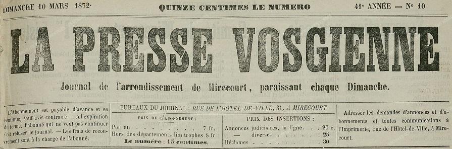 Photo (Les Amis du vieux Mirecourt-Regain) de : La Presse vosgienne. Mirecourt, 1847-[1914 ?]. ISSN 2135-2410.