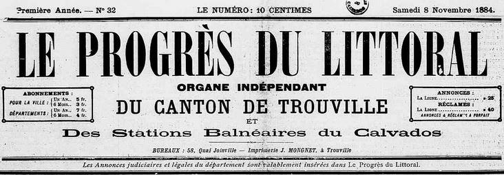 Photo (Calvados. Archives départementales) de : Le Progrès du littoral. Trouville-sur-Mer, [1884?]-1940. ISSN 2135-4588.