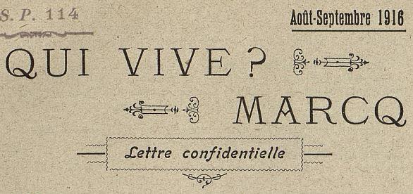 Photo (Médiathèque municipale Jean-Lévy (Lille)) de : Qui vive ? Marcq. Quimper, 1916-1918. ISSN 2111-0905.