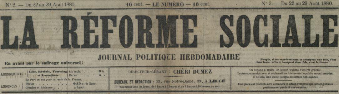 Photo (Médiathèque municipale Jean-Lévy (Lille)) de : La Réforme sociale. Lille, 1880-[1881 ?]. ISSN 2136-0456.