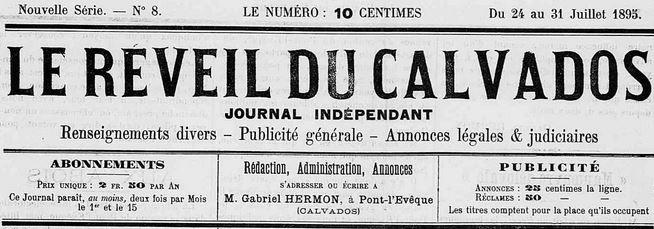 Photo (Calvados. Archives départementales) de : Le Réveil du Calvados. Pont-l'Évêque, 1888-1898. ISSN 2136-9542.