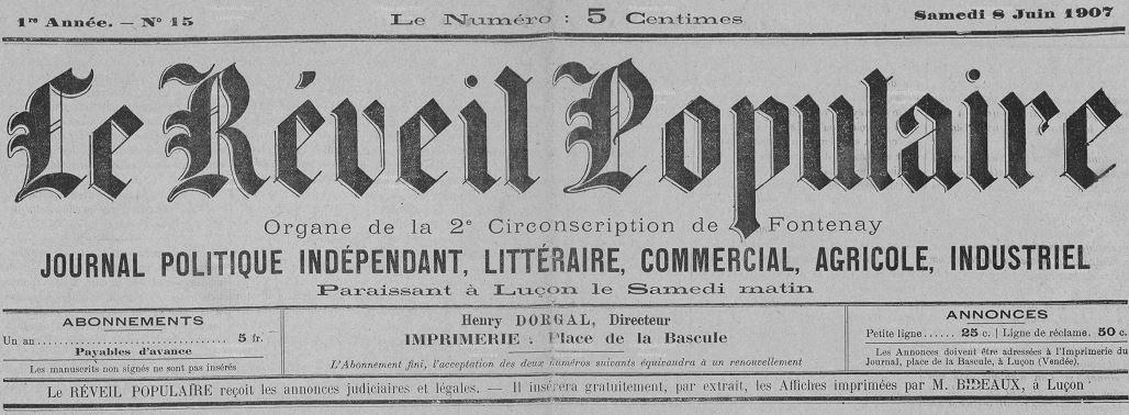 Photo (Vendée. Archives départementales) de : Le Réveil populaire. Luçon, [1907 ?]-1942. ISSN 2137-0982.