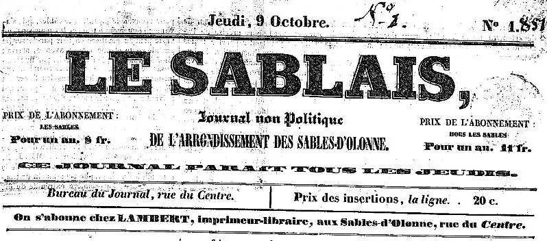 Photo (Vendée. Archives départementales) de : Le Sablais. Les Sables d'Olonne: impr. Lambert, 1851-1856. ISSN 2137-6816.