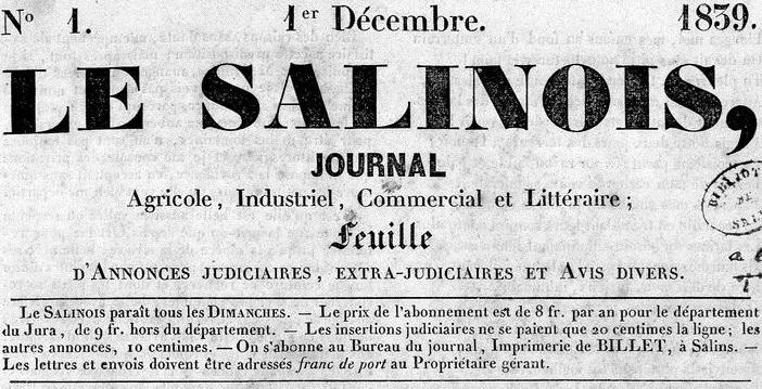 Photo (Médiathèque municipale (Salins-les-Bains, Jura)) de : Le Salinois. Salins-les-Bains: Impr. Billet, 1839-1944. ISSN 2018-3356.