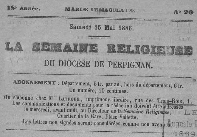 Photo (Université Bordeaux Montaigne) de : La Semaine religieuse du diocèse de Perpignan. Perpignan, 1869-1963. ISSN 2137-9890.