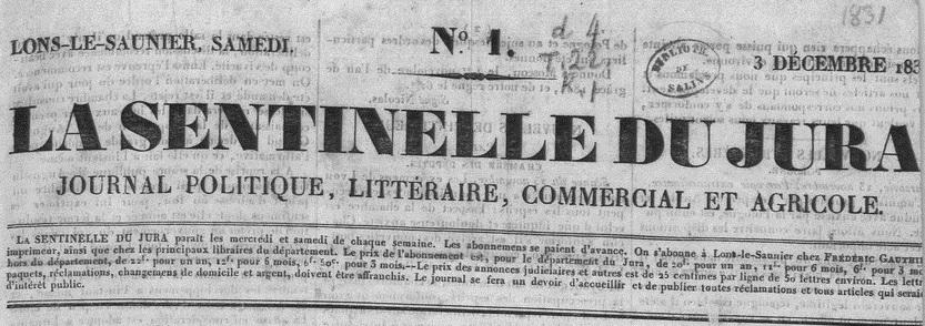 Photo (Médiathèque municipale (Salins-les-Bains, Jura)) de : La Sentinelle du Jura. Lons-le-Saulnier: Impr. F. Gauthier, 1831-1892. ISSN 2018-4093.