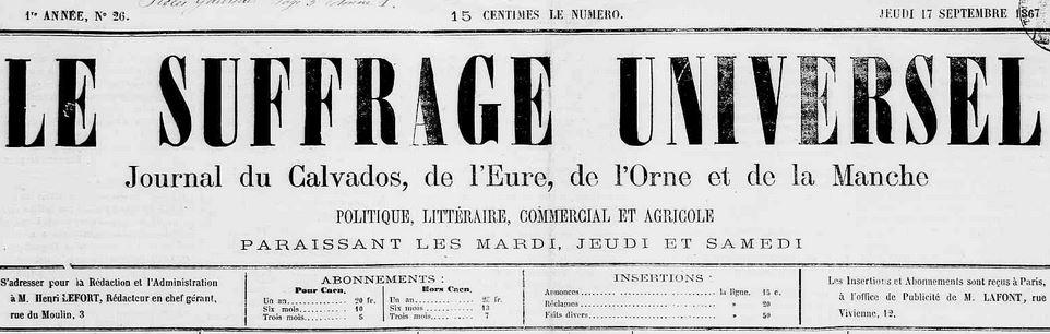 Photo (Calvados. Archives départementales) de : Le Suffrage universel. Caen, 1868-1870. ISSN 2138-3871.