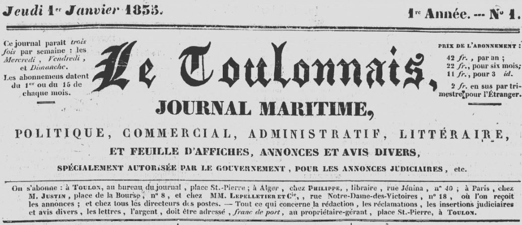 Photo (Var. Archives départementales) de : Le Toulonnais. Toulon, 1835-1873. ISSN 2018-3526.