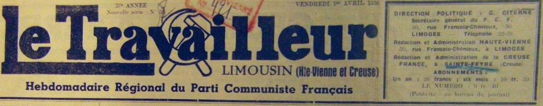 Photo (BnF / Gallica) de : Le Travailleur limousin. Limoges, Sainte-Feyre, 1938-1941. ISSN 2138-9586.
