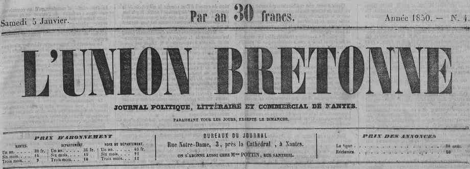 Photo (Loire-Atlantique. Archives départementales) de : L'Union bretonne. Nantes, 1849-1917. ISSN 2139-2757.