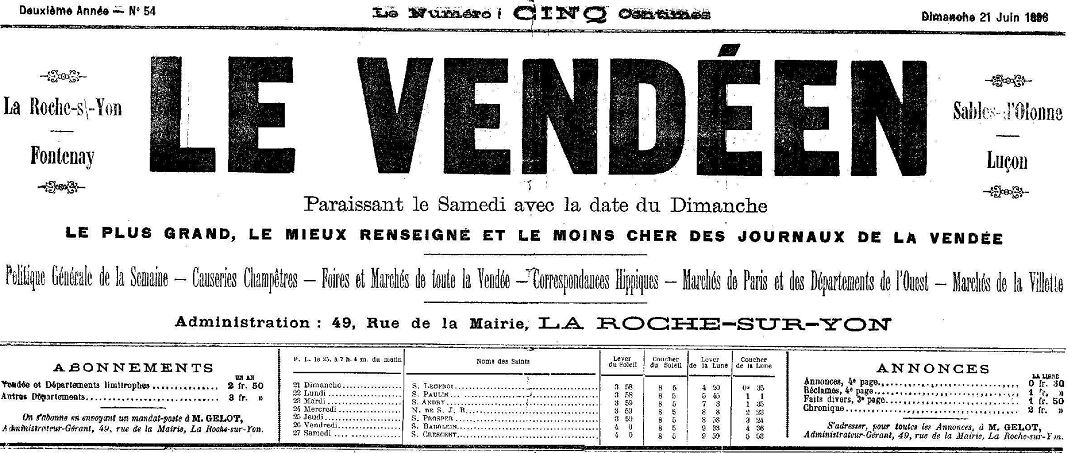 Photo (Vendée. Archives départementales) de : Le Vendéen. Nantes, [1896 ?-1916 ?]. ISSN 2139-7163.