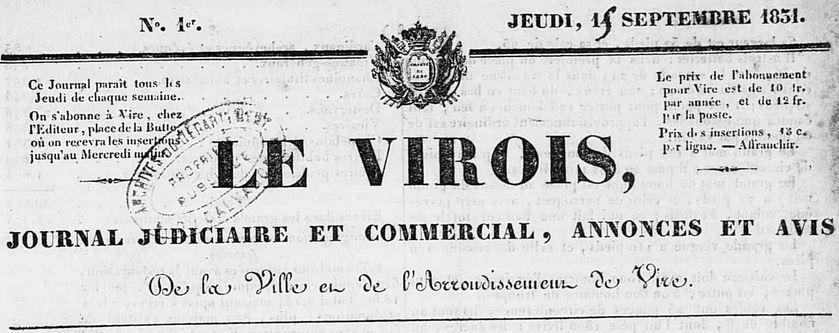 Photo (Calvados. Archives départementales) de : Le Virois. Vire, 1831-[1882 ?]. ISSN 2140-1101.