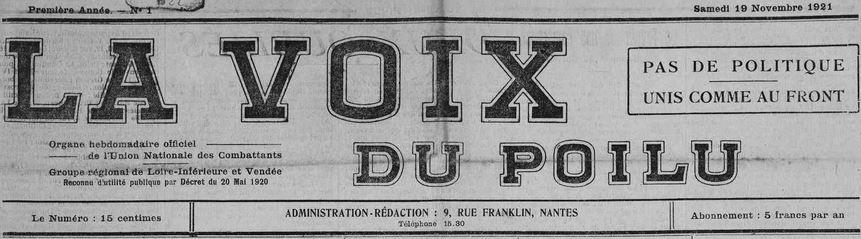 Photo (Loire-Atlantique. Archives départementales) de : La Voix du poilu. Nantes, 1921-1940. ISSN 2140-2795.