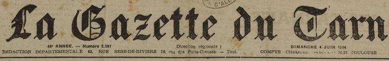 Photo (Médiathèque Pierre Amalric (Albi)) de : La Gazette du Tarn. Albi, 1898-1944. ISSN 2128-766X.