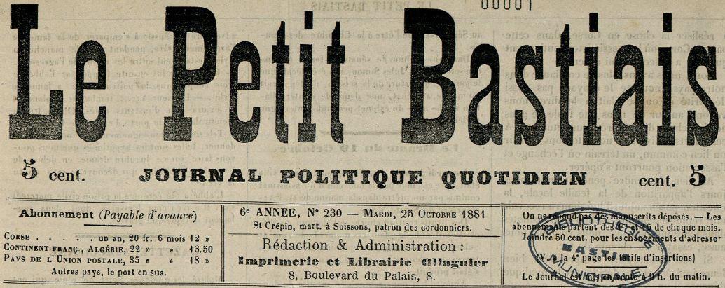 Photo (Bastia. Bibliothèques municipales) de : Le Petit bastiais. Bastia, 1881-1972. ISSN 0241-5232.