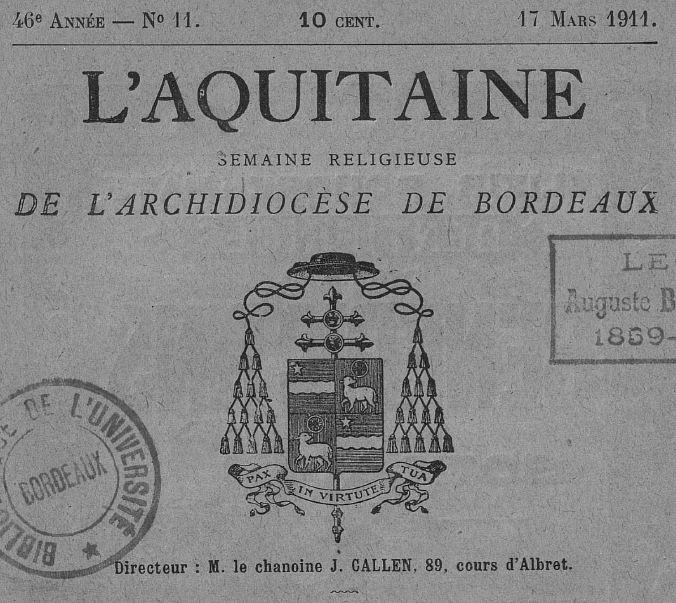 Photo (Université Bordeaux Montaigne) de : L'Aquitaine. Bordeaux: impr. de J. Delmas, 1864-2012. ISSN 0982-1406.