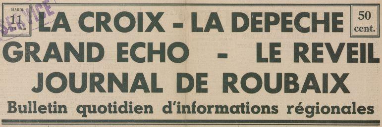 Photo (Médiathèque municipale Jean-Lévy (Lille)) de : Bulletin quotidien d'informations régionales. Lille, 1940. ISSN 1141-1554.