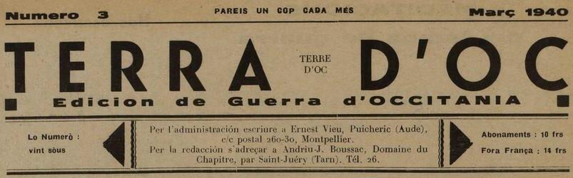 Photo (Médiathèque Pierre Amalric (Albi)) de : Terra d'Oc. Puicheric: E. Vieu, Domaine du Chapitre, par Saint-Juéry: A.-J. Boussac, 1940-1945. ISSN 1149-851X.