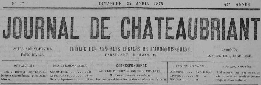 Photo (Loire-Atlantique. Archives départementales) de : Journal de Châteaubriant. Châteaubriant, 1865-[1963?]. ISSN 1153-7361.