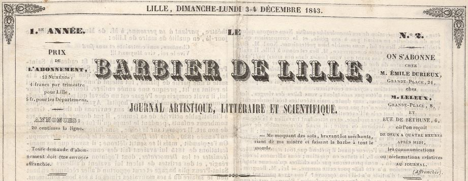 Photo (Médiathèque municipale Jean-Lévy (Lille)) de : Le Barbier de Lille. Lille, 1843-1846. ISSN 1162-5368.