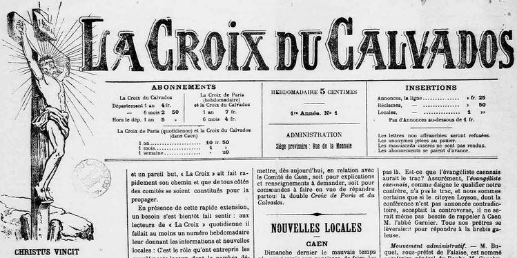 Photo (Calvados. Archives départementales) de : La Croix du Calvados. Caen, 1891-[ca 1950]. ISSN 1247-7214.