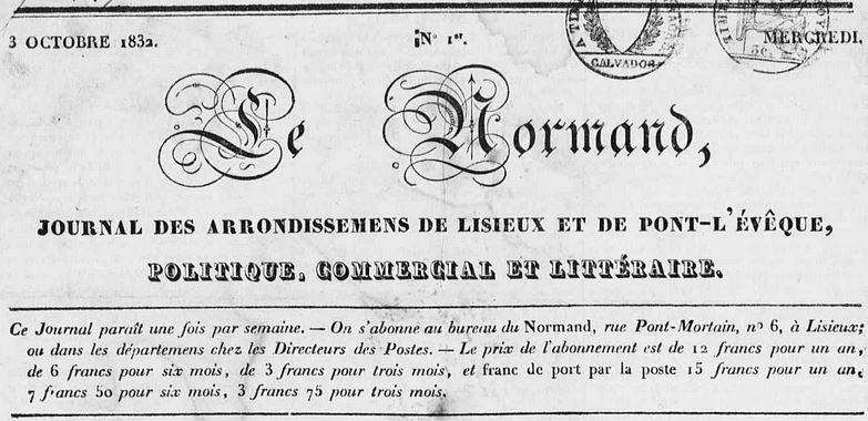 Photo (Calvados. Archives départementales) de : Le Normand. Lisieux, 1832-1870. ISSN 1248-4008.
