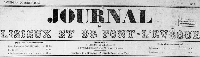 Photo (Calvados. Archives départementales) de : Journal de Lisieux et de Pont-l'Évêque. Lisieux, 1870-1878. ISSN 1248-4016.