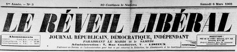 Photo (Calvados. Archives départementales) de : Le Réveil libéral. Lisieux, 1902-1907. ISSN 1248-4067.