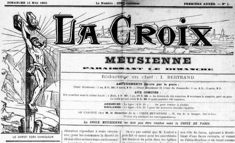 Photo (Meuse. Archives départementales) de : La Croix meusienne. Bar-Le-Duc, 1892-1944. ISSN 1248-413X.